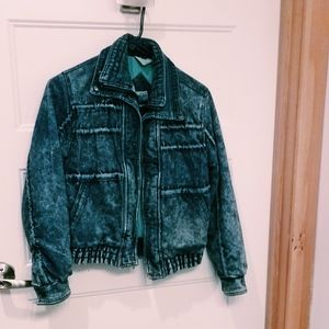 93. vintage denim bomber jacket